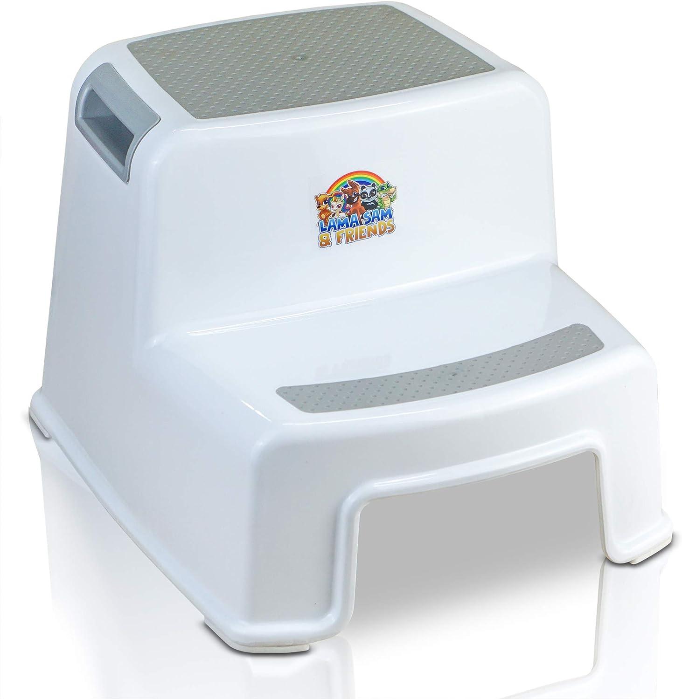 Lama Sam & Friends - Taburetes en dos etapas para niños Escalón para el Baño para Enseñar a Usar el WC a Niños (Blanco-Gris)
