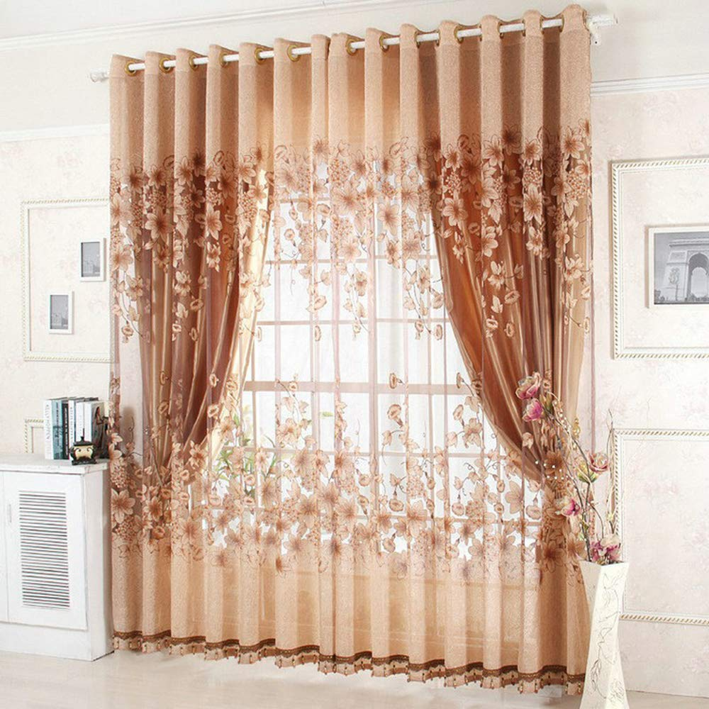 Romantic Beautiful Sheer Curtains Set Grommet Top Window Treatment Drape for Living Room/Bedroom Set of Two Panels 50WX96 L(Coffee) LightInTheBox