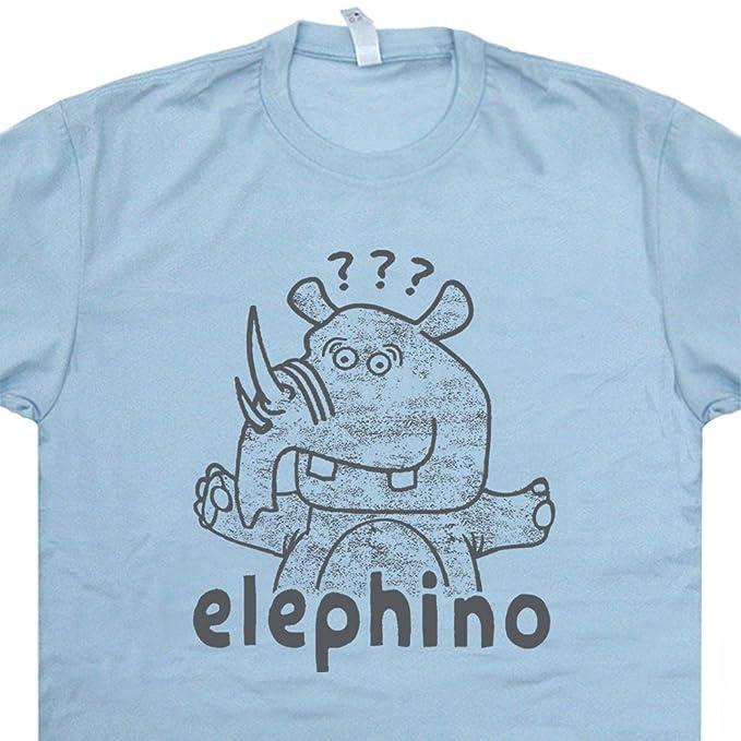 6aa52cc48311 S - Elephino T Shirt Elephant Rhino Tee Funny Spirit Animal Saying Pun  Weird Odd Rhinoceros