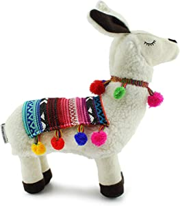 Decorae Plush Llama with Blanket and Pom-Poms, Stuffed Llama Shaped Decorative Pillow
