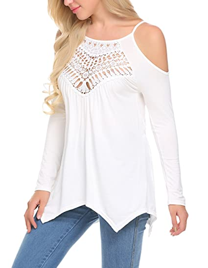 09488327dff LuckyMore Womens Lace Hollow Out Cold Shoulder Casual Loose Long Sleeve  Blouse Tops White,S