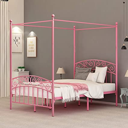 Dumee Full Size Metal Canopy Bed Frame Platform Sweet Pink Style Mattress Foundation With Headboard And Footboard Girl Princess Beds Box Spring