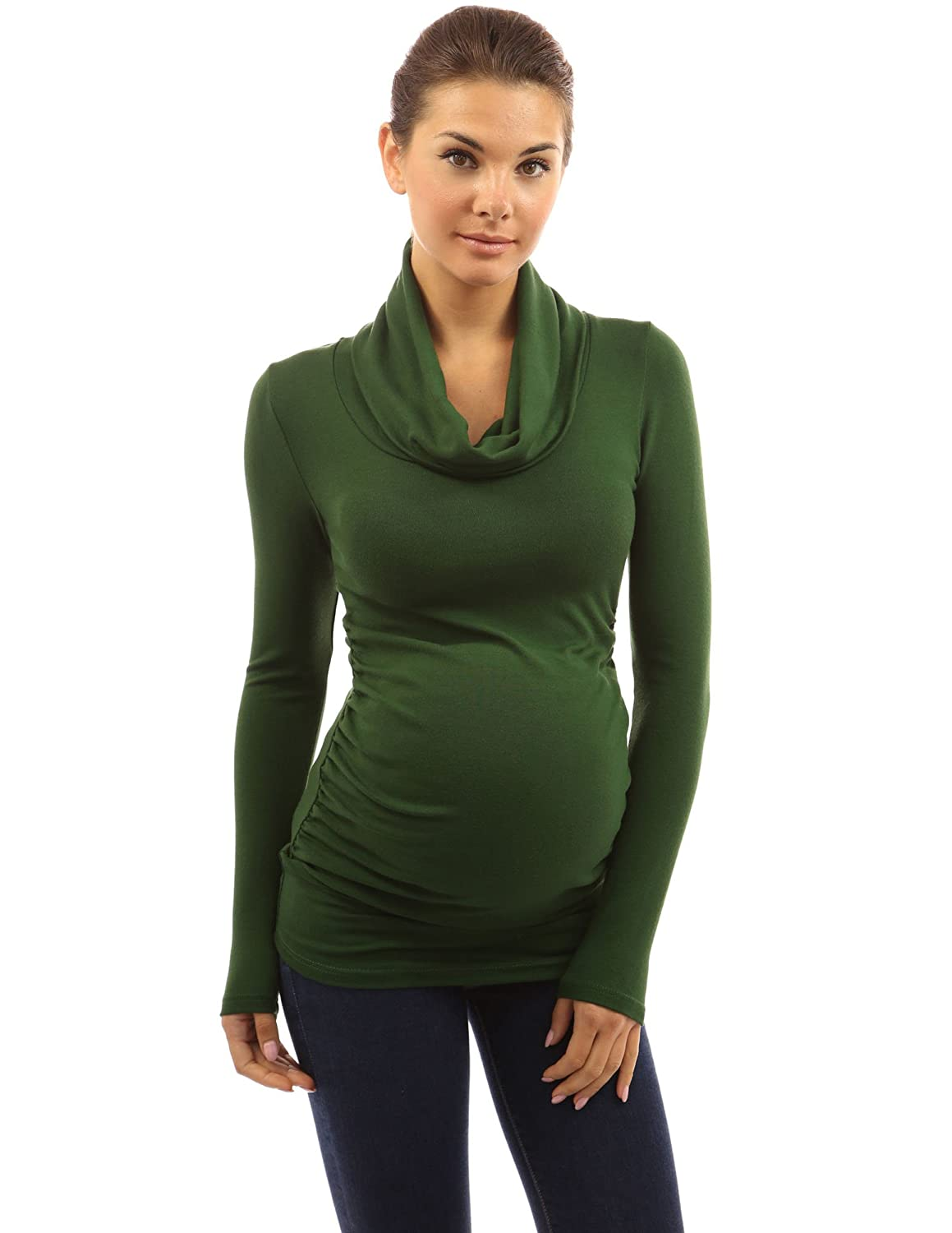 PattyBoutik Mama Cowl Neck Ruched Sides Stretch Solid Maternity Blouse Top
