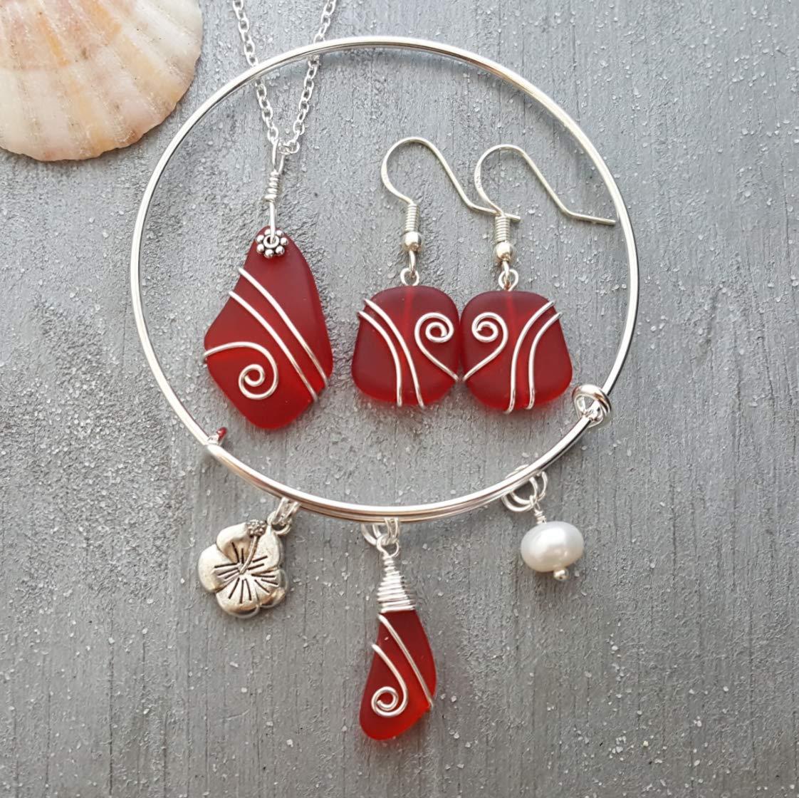 Hecho a mano en Hawai, envuelta alambre Collar de rubíes rojo de cristal de mar set + pendientes + pulsera de la joyería,