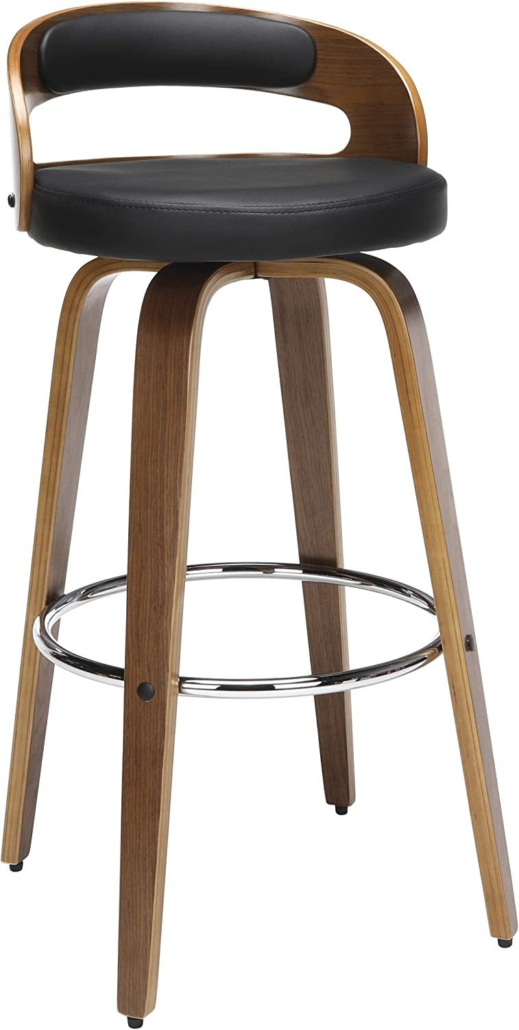 "OFM 161 Collection Mid Century Modern 30"" Low Back Bentwood Frame Swivel Seat Stool with Vinyl Back and Seat Cushion, in Walnut/Black"