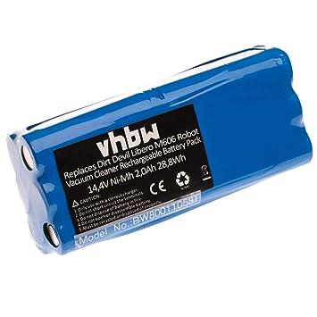 vhbw Batería NiMH 1500mAh (14.4V) para Robot aspidador doméstico Dirt Devil Fusion M611, Libero, Puck M610, M610-1 como 0606004, 0607004.