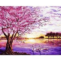 Lamdoo no-framed Purple Swan Lake Digital pittura a olio su tela DIY dipingere con i numeri