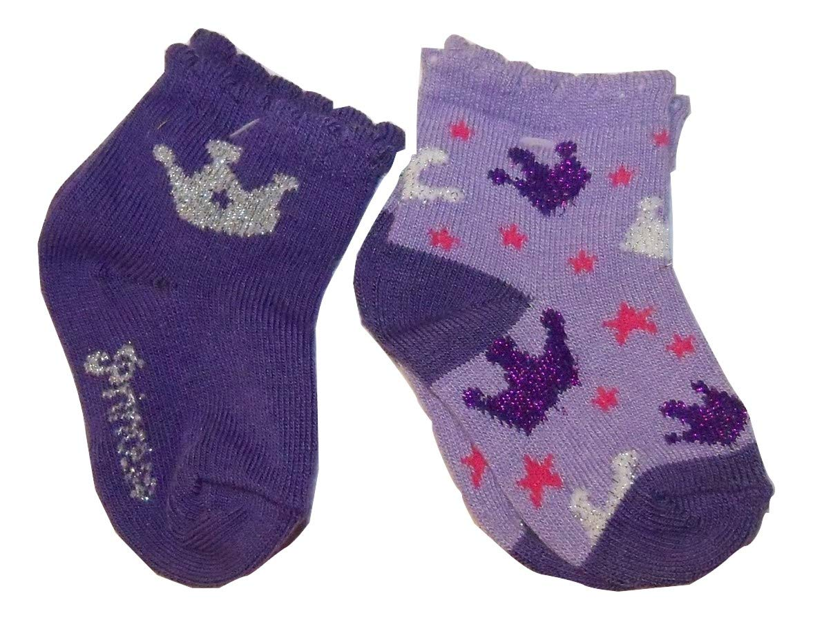 Max Grey Sparkly Baby Socks ~ Set of 2 6-12 Months Purple Princess, Crowns with Stars