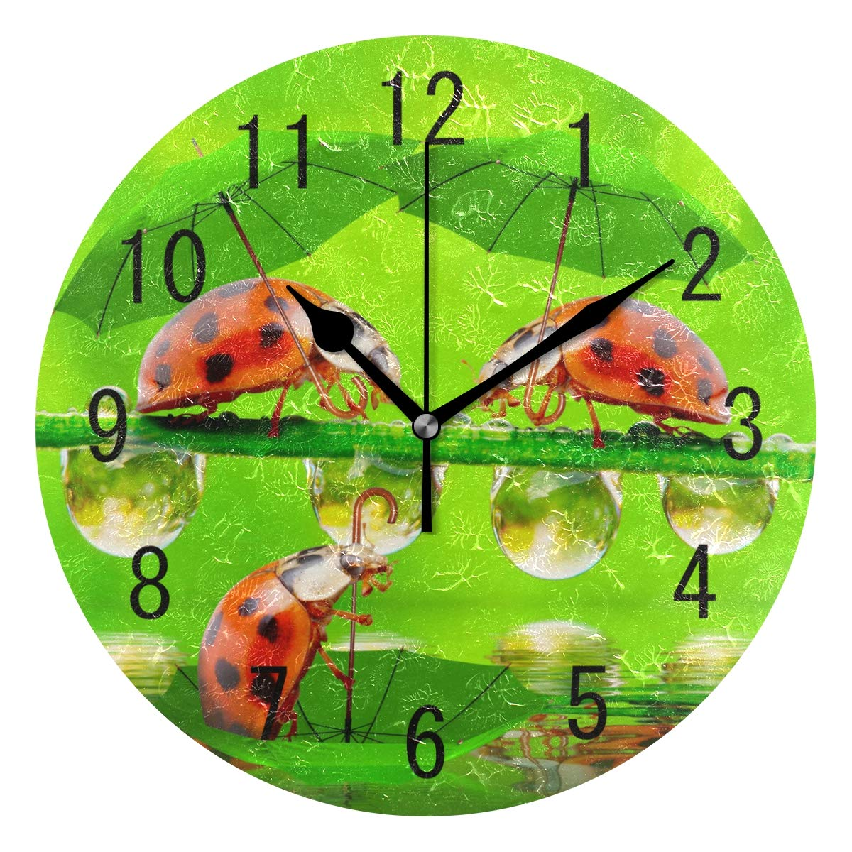 Amazon.com: ALAZA Home Decor Cute Ladybug Landscape Nature Round Acrylic Wall Clock Non Ticking Silent Clock Art for Living Room Kitchen Bedroom: Home & ...