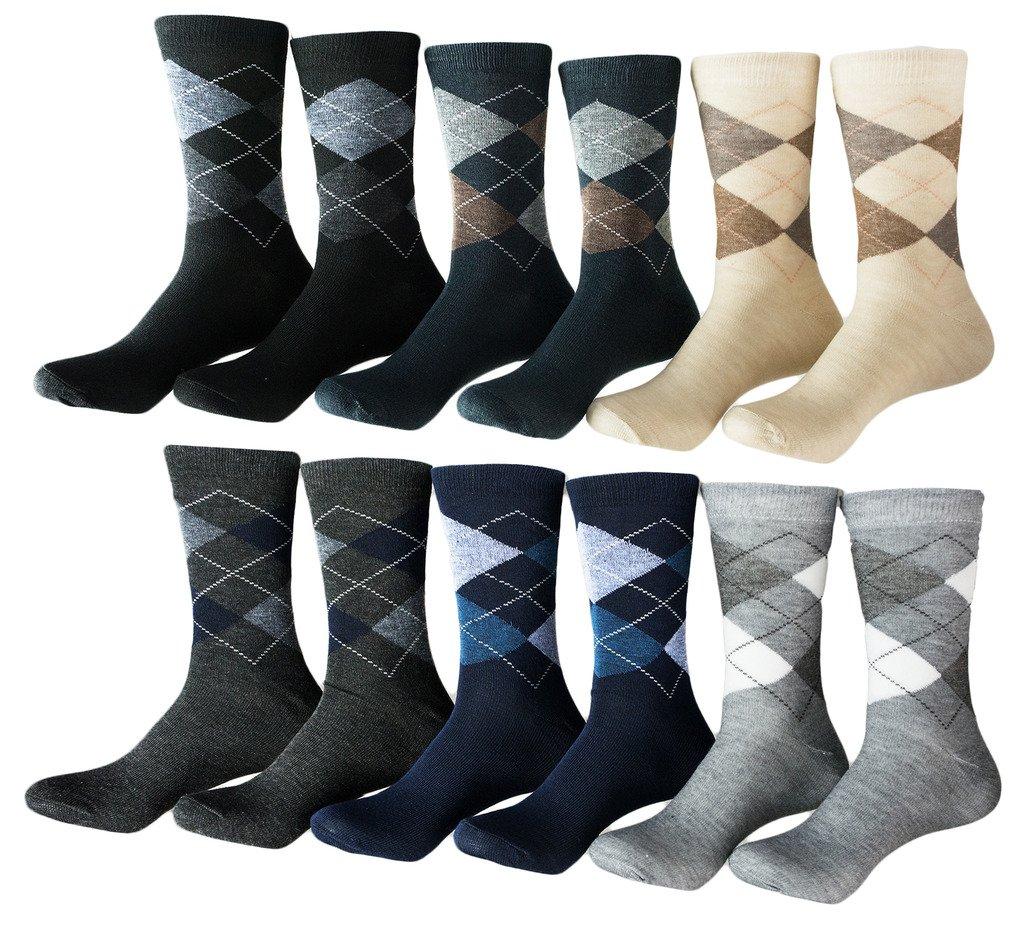Zakka Republic 12 Pairs Men Dress Socks Multi Colored Argyle Pattern (SCK-01)