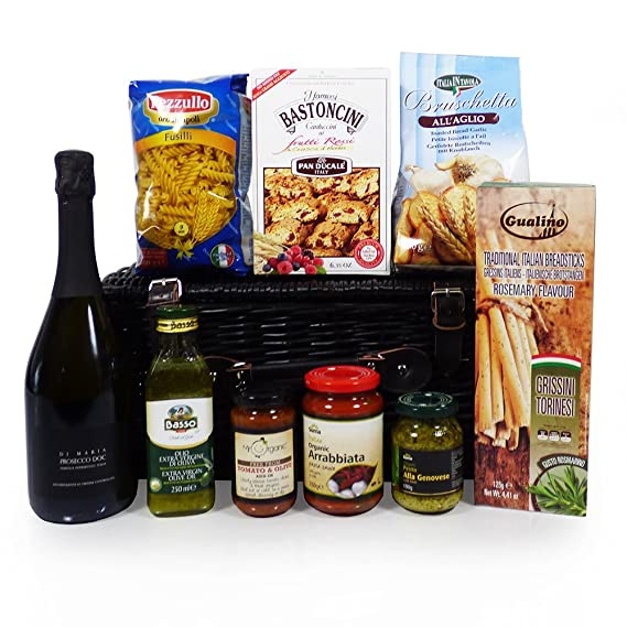 Christmas Business Gifts.A Taste Of Venice Prosecco And Food Wicker Basket Hamper