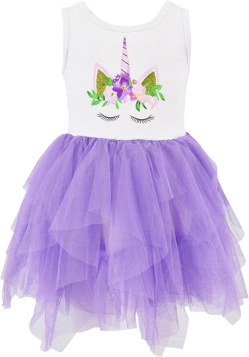 Amazon.com: Único bebé niñas verano vestido de unicornio con ...