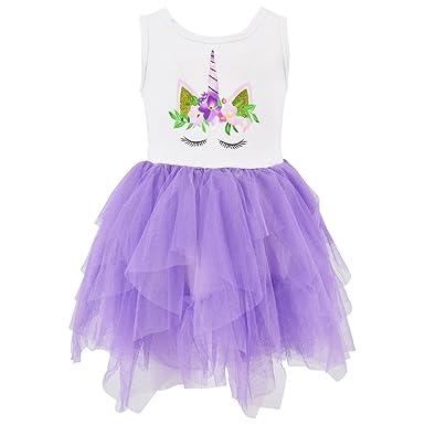 79697c1a97cb3 Amazon.com: Unique Baby Girls Summer Unicorn Dress with Tutu (2T/XS ...