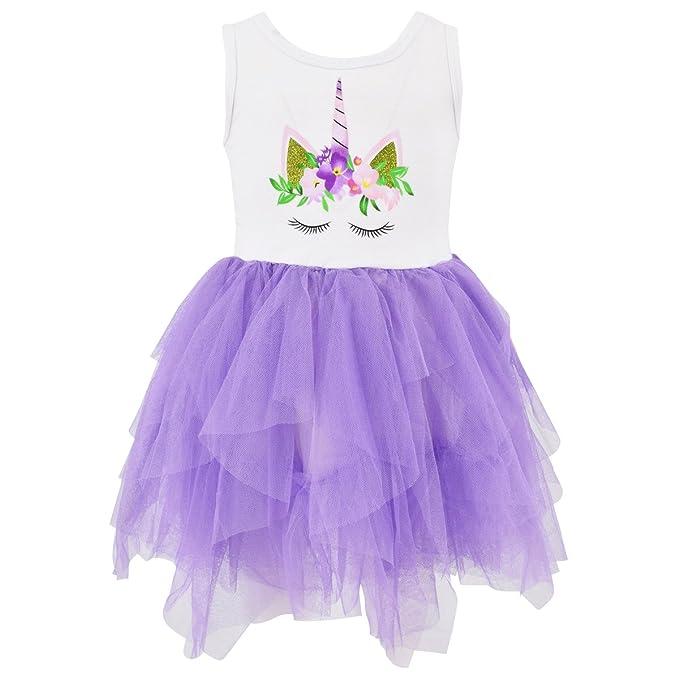 20df539fae Amazon.com  Unique Baby Girls Summer Unicorn Dress with Tutu (2T XS ...