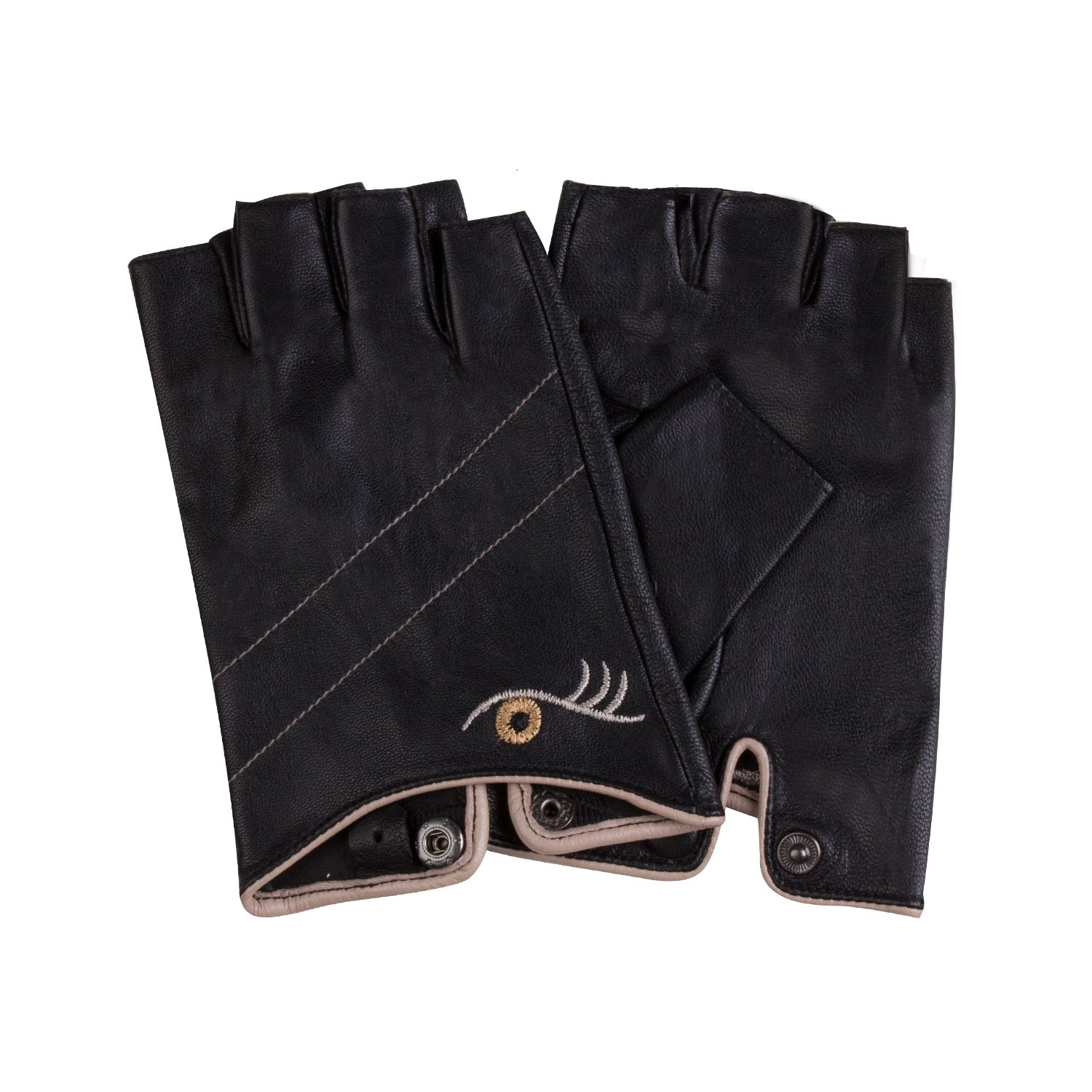 Fioretto Womens Sexy Fingerless Leather Gloves Half Finger Driving Motorcycle Cycling Unlined Ladies Leather Gloves Women's Gift Black M by Fioretto (Image #4)