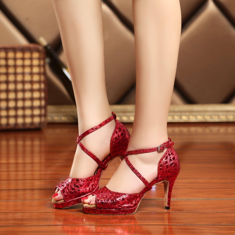 Minishion GL225 Womens Platform Synthetic Latin Tango Ballroom Dance Shoes Wedding Prom Sandals
