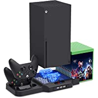 Vertical Stand for Xbox Series X/S with Cooling Fan, Charging Station for Xbox Series X/S with Controller Charger Dock…