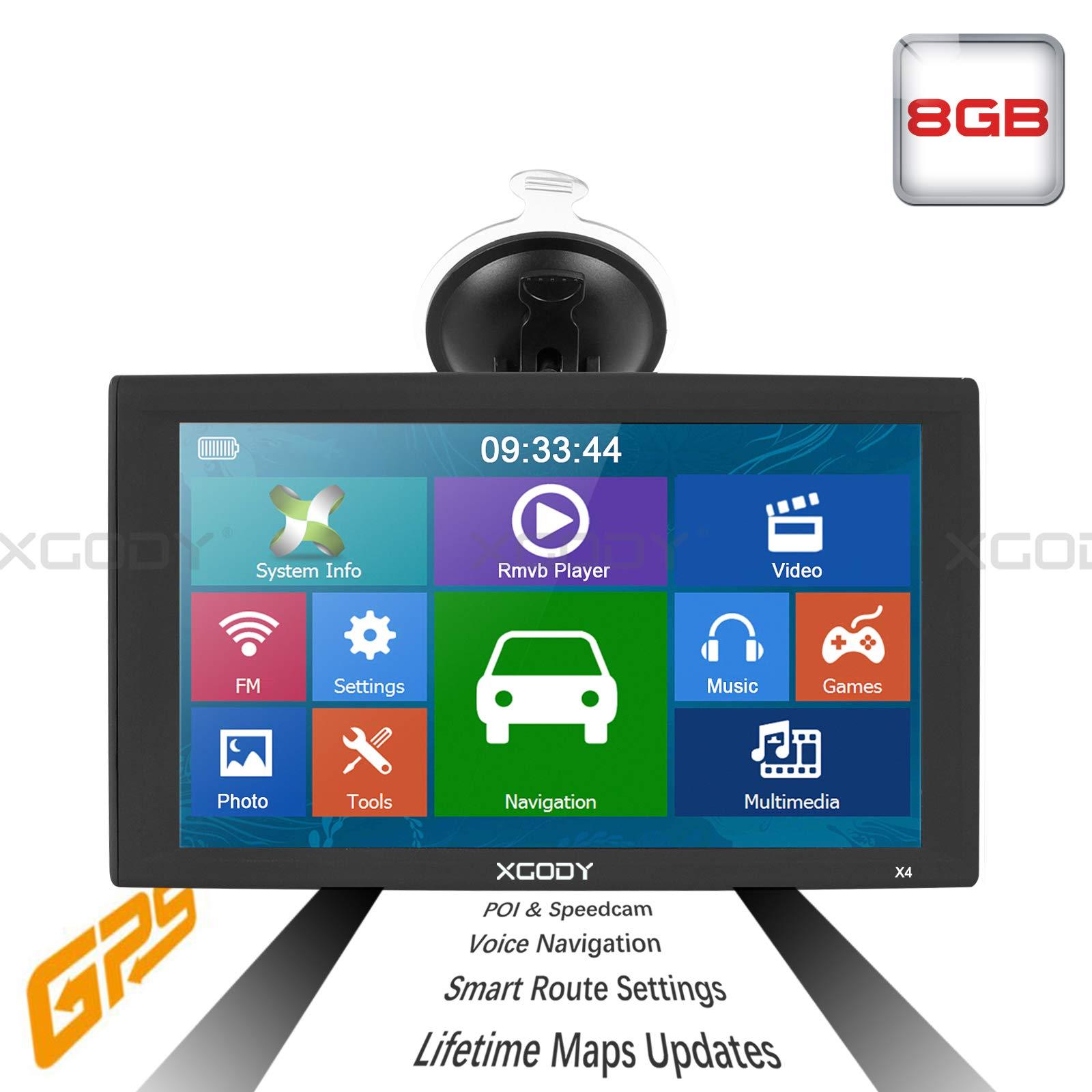 9inch Truck GPS Big Touchscreen Trucking GPS Bluetooth AV-in Xgody GPS Navigation for car Navigation 8GB ROM SAT NAV System Navigator Driving Alarm Lifetime Map Updates by XGODY (Image #2)