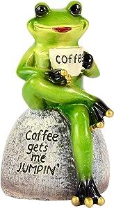 Frog Garden Statues Figurines, Frog Sitting on Stone Statue, Frogs Decor Garden Statue for Yard Ornaments and Fairy Garden Accessories, Indoor Outdoor Decoration Sculpture, Frog Gifts for Best Friend