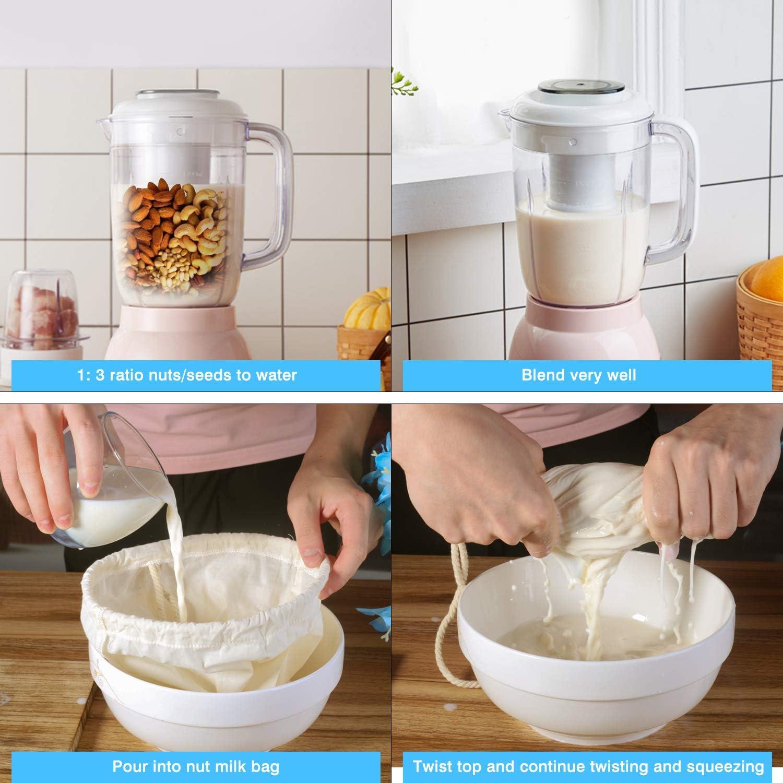Nut Milk Bag, McoMce 2 Pack Cheese Cloth, Fine Mesh Line Cheesecloth Bag, Multiple Usage Cheese Cloths for Straining, Reusable Food Strainer for Yogurt Strainer, Milk & Juice Filter