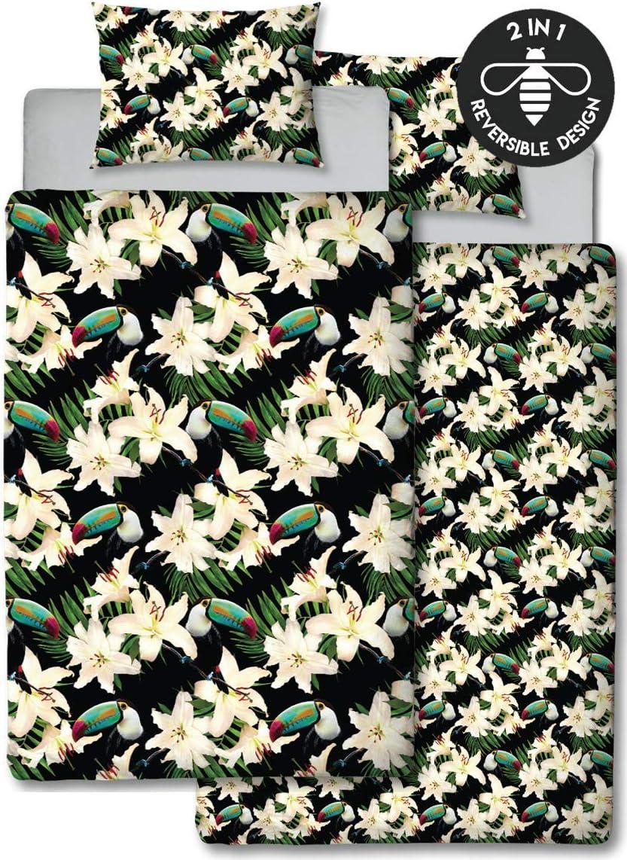 Motif Hive Motif Floral Toucan Housse de Couette et taie doreiller Assortie