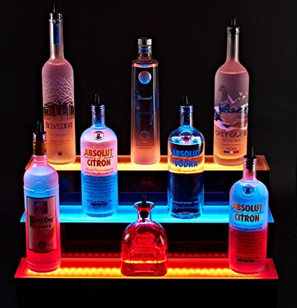 Superb 2 Foot Led Liquor Bottle Shelf 3 Tier Acrylic Shelf Liquor Interior Design Ideas Lukepblogthenellocom