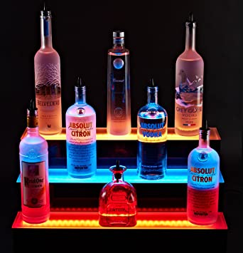 Amazon 72 led lighted liquor shelves bottle display 3 tier 72quot led lighted liquor shelves bottle display 3 tier home bar lighting 3 mozeypictures Gallery