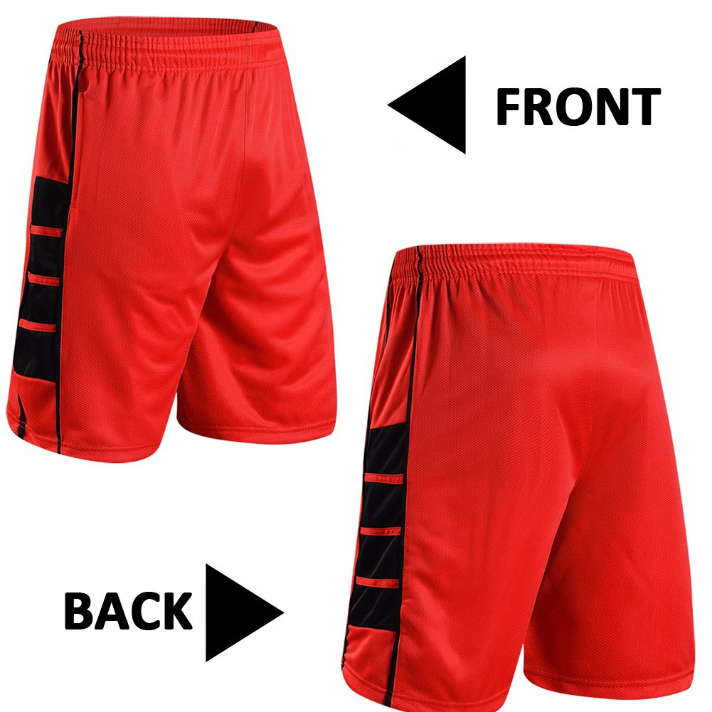 Toptie Basketball Shorts for Men, Mesh Design Activewear with Side Pockets, Sport Training Shorts FXYFF-BD1935
