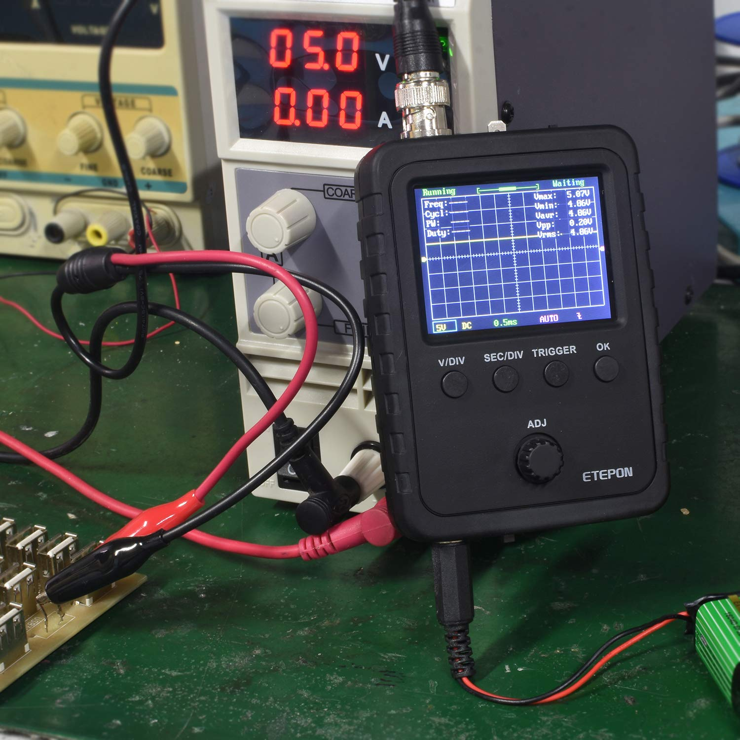 ETEPON Digital Oscilloscope/Kit with BNC-Clip Cable Probe Power Adapter Assembled Finished Machine EM001