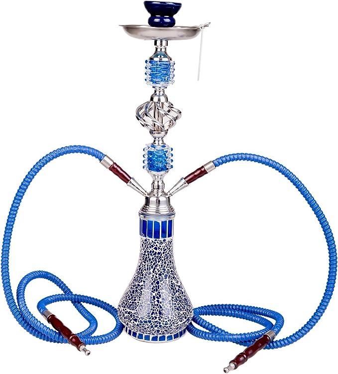 Kertou Cachimba Pipa de Agua Shisha hookah 2 Tubos Mangueras 55cm de altura Waterpipe (Azul)