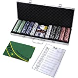 Goplus New 500 Chips Poker Dice Chip Set Texas Hold'em Cards W/ Silver Aluminum Case