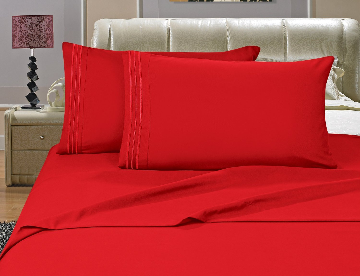 4-Piece Bed Sheet Set , Queen, Rose - Red