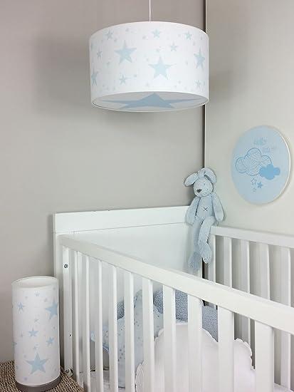 Luminaire enfant/lampe de plafond/Suspension Blanc avec Etoile Bleu