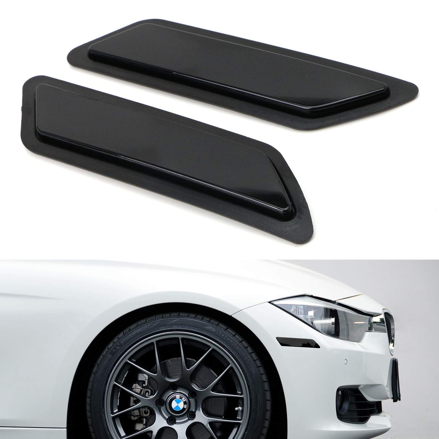 iJDMTOY Glossy Black Smoked Lens Front Bumper Side Markers For 2016-2018 BMW F30 F31 LCI 3 Series 320i 340i Replace OEM Amber Reflector Assy F32 4 Series 420i 428i 435i 440i