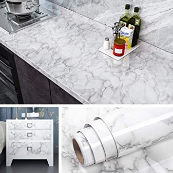 Livelynine Marble Wallpaper Peel And Stick Countertops For Kitchen Waterproof Kitchen Countertop Contact Paper For Desk Cover Dresser Furniture Counter Top Removable 15 8x78 8 Inch Amazon Com