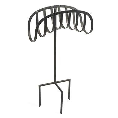 Liberty Garden 647 Manger Style Metal Garden Hose Stand, Holds 125-Feet of 5/8-Inch Hose - Black