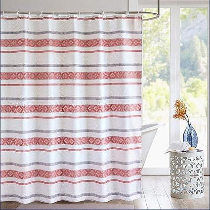AORRO Simple Stripe Shower Curtain Set Modern Design Bathroom Liner Anti Bacterial