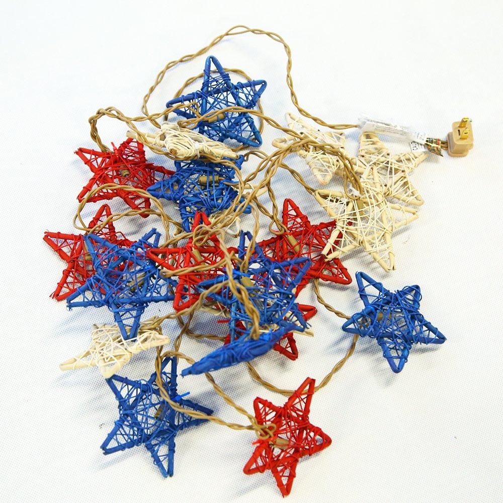 YAZAN-MOLANDI Set of 20 Rattan Star Lights Patriotic Garland Red White and Blue Rattan Stars