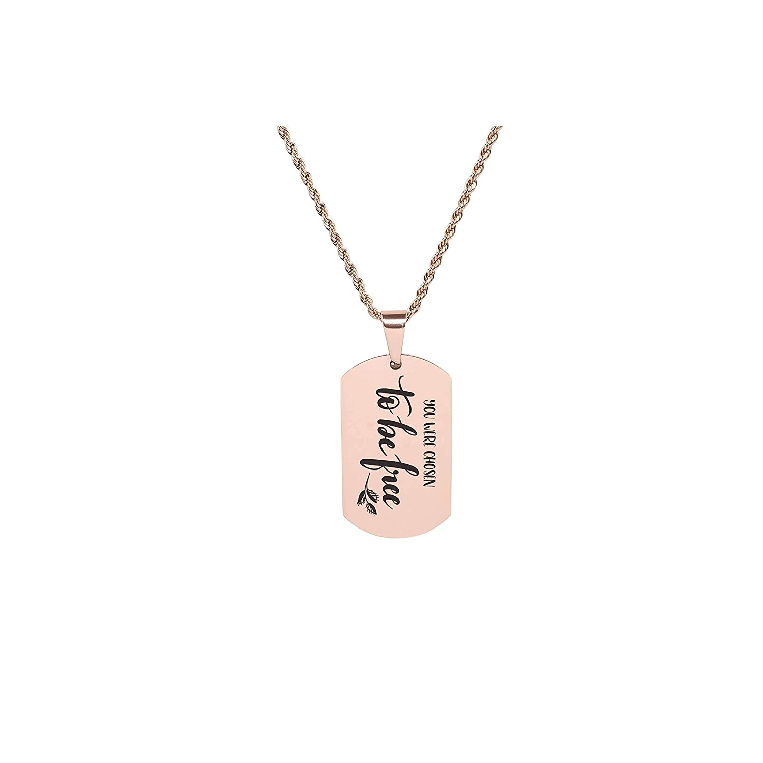 Pink Box Solid Stainless Steel Inspirational Tag Necklace to be Free Rose Gold