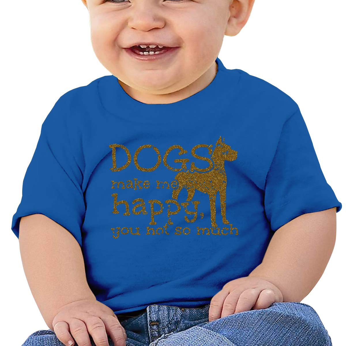 XHX403 Dogs Make Me Happy Infant Kids T Shirt Cotton Tee Toddler Baby 6-18M