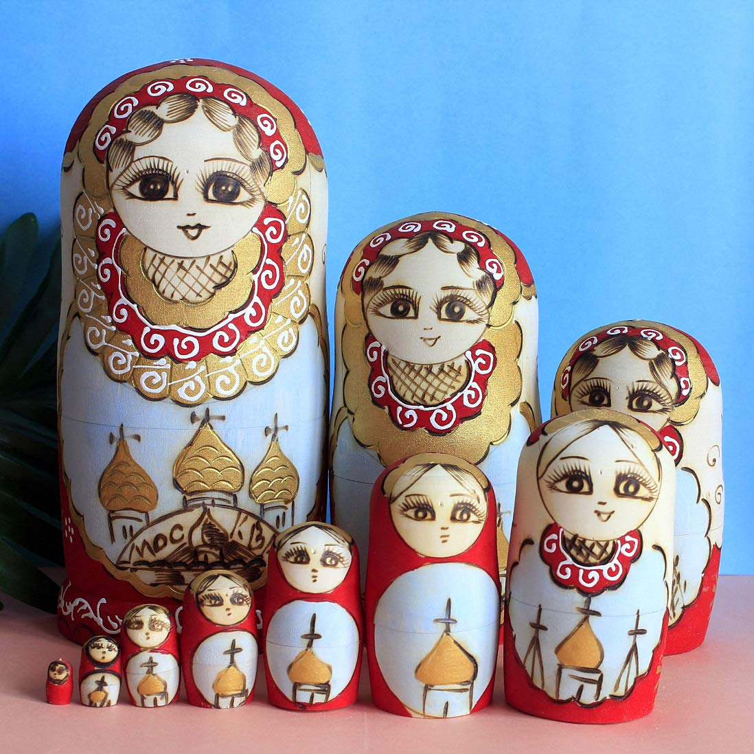 Hoverex Beautiful Set of 7 Cutie Nesting Dolls Matryoshka Madness Russian Doll Wooden Wishing Dolls Toy by by Hoverex