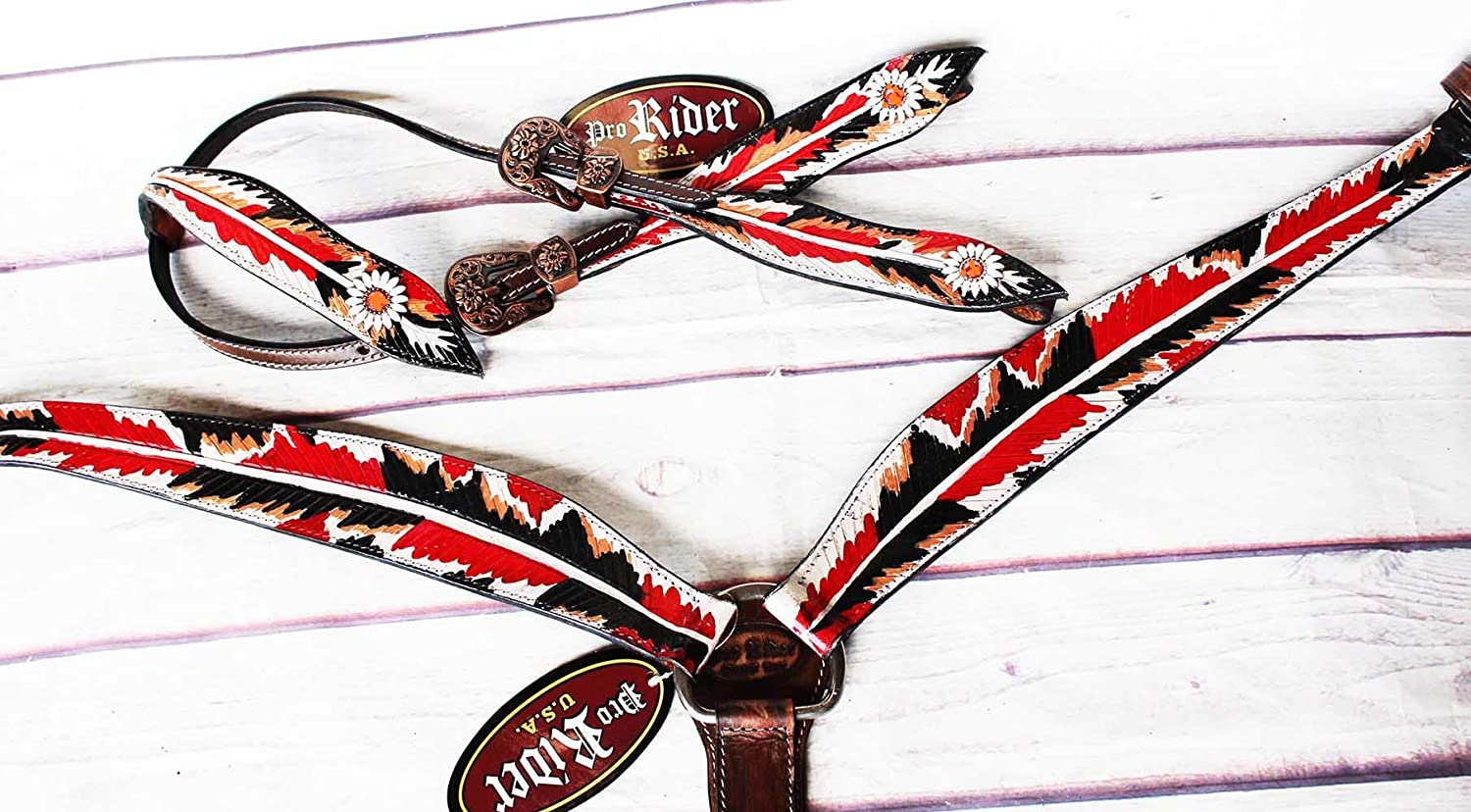 Horse Show Bridle WesternレザーロデオHeadstall Breast襟レッドTack 8846 A   B0722PJY67