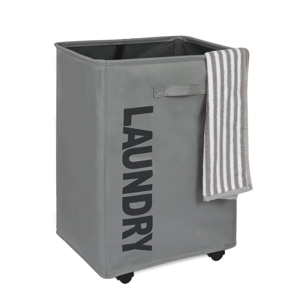 WOWLIVE 3 Section Laundry Hamper on Wheels Rolling Tall Collapsible Corner Laundry Basket Sorter Lid Waterproof Rectangular Dirty Clothes Organizer Storage Bin (Cream)