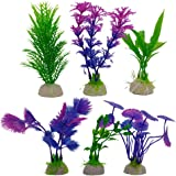 Evnis Pack of 6 Style Aquarium Artificial Plants - Plastic Simulation Water Grass Fish Tank Decorations