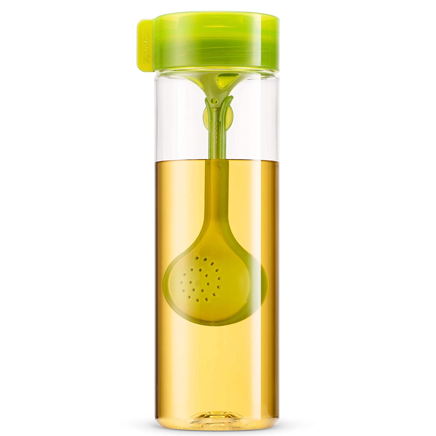 Komax 18.5oz Tea Bottle With Loose Tea Leaf Infuser Spoon - Lightweight and Portable, Travel Size - BPA Free, Unbreakable Tritan Plastic - Airtight Leak proof Screw Cap - Freezer and Dishwasher Safe