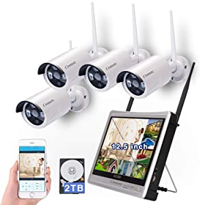 "[8CH,Expandable]All in one with 12.5"" Monitor Wireless Security Camera System, Cromorc Home Business CCTV Surveillance 8CH 1080P NVR Kit, 4pcs 1.3MP 960P Outdoor Night Vision IP Camera, 2TB Hard Drive"