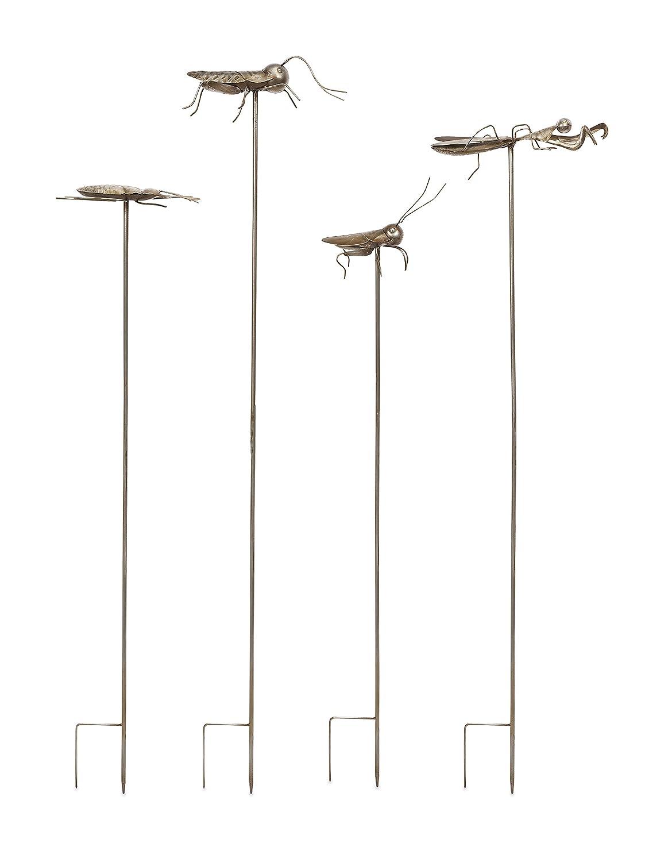 Imax ACERRA Metall Insekten Gartenstecker, silber, 4Stück