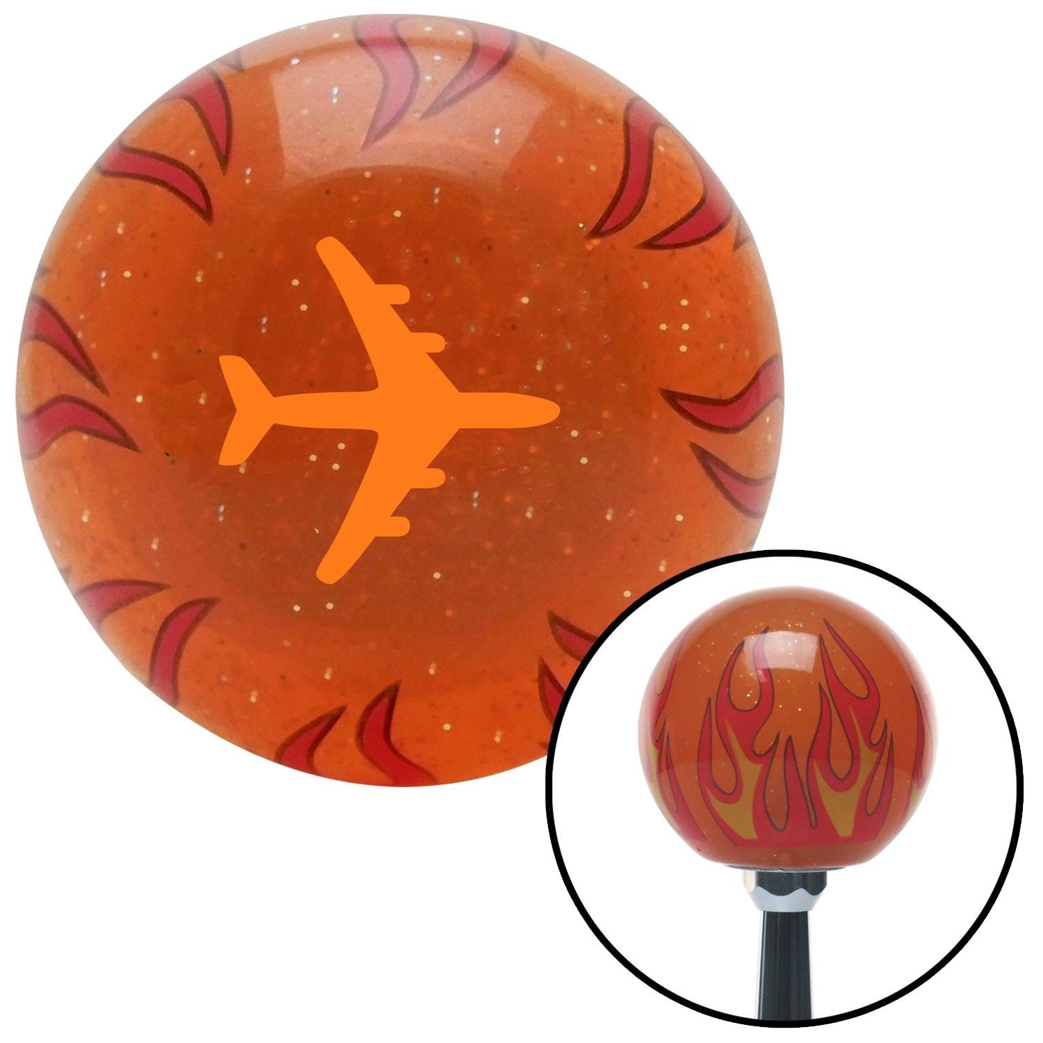 American Shifter 256762 Orange Flame Metal Flake Shift Knob with M16 x 1.5 Insert Orange Commercial Airplane