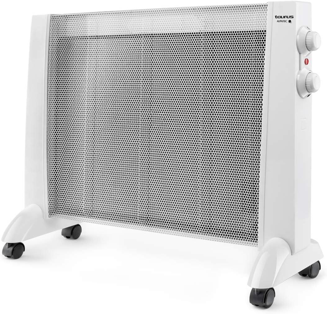 Taurus PRMB 1600 1600-Radiador de Mica, W, 3 temperaturas, termostato Regulable, Ruedas, protección Anti Calentamiento, Silencioso, Blanco, Acero