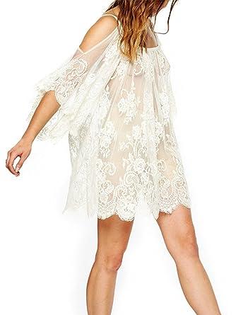 629c28582371f Choies Women s Cold Shoulder Sheer Lace Beach Bikini Cover Up Dress Top at  Amazon Women s Clothing store